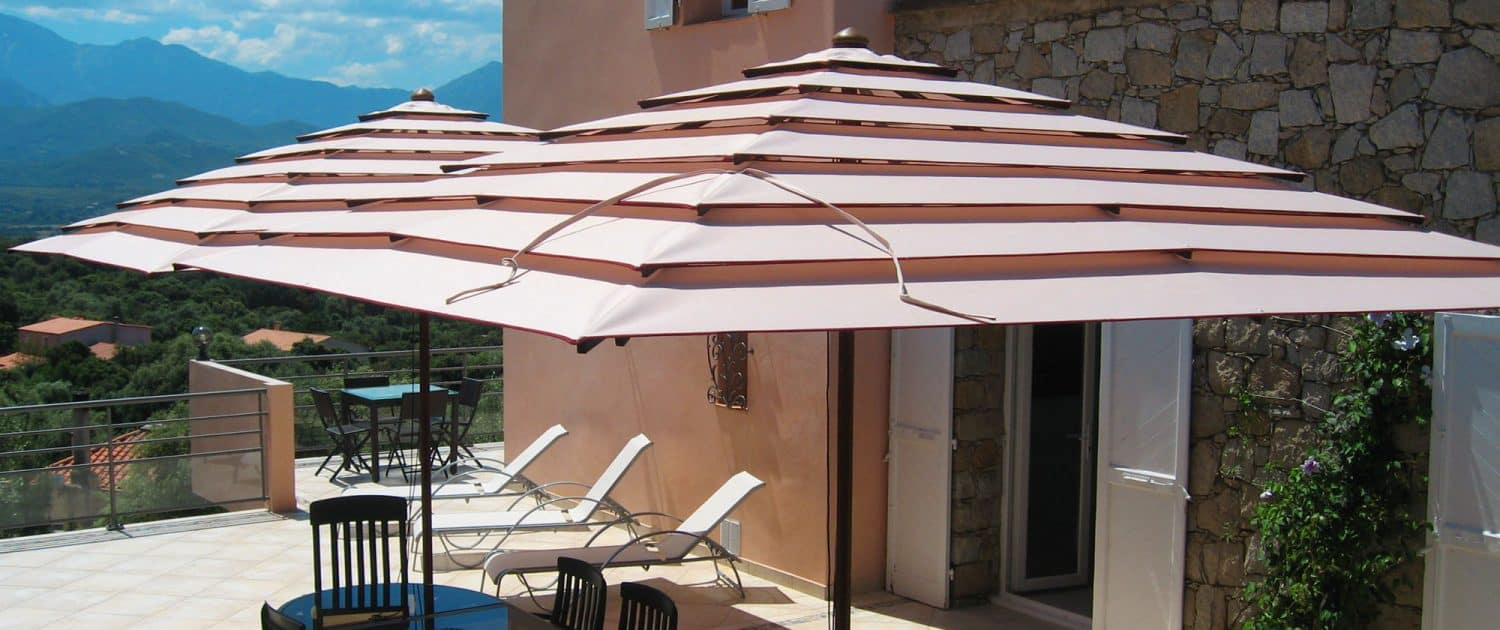 Parasol mat central POKER en bois