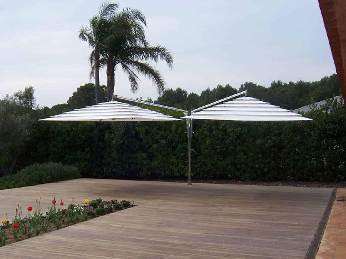 double parasol blanc en inox 316 l terrasse en bord de. Black Bedroom Furniture Sets. Home Design Ideas